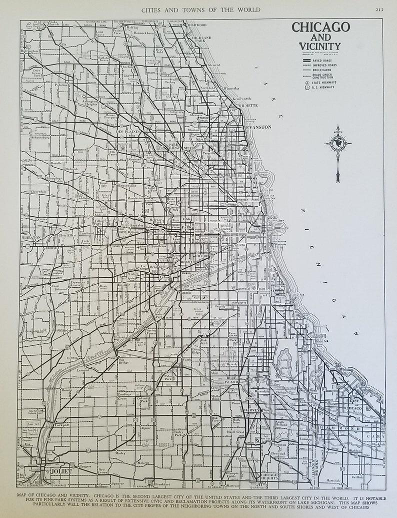 Chicago MapChicago City MapChicago Illinois MapUSA City | Etsy
