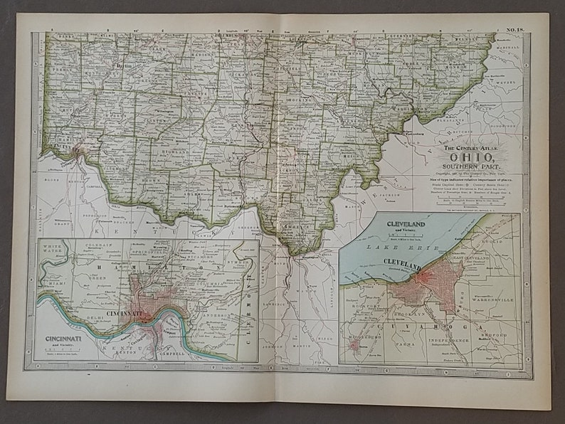 Ohio Map,Ohio State Map,2 Pieces North South,Cleveland Cincinnati USA State  Map,United States Map Art,Place on the World Map,1900 10x15
