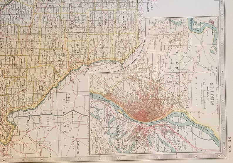 Missouri Map,St Louis Kansas City Mississippi,North South Parts 2  Pieces,Place on the World Map,United States Wall Map Art,1903 10x15