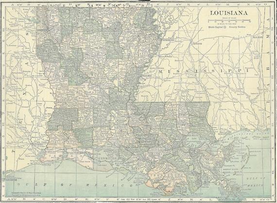 Louisiana Map,Baton Rouge New Orleans Lake Pontchartrain,USA,United States  Map Art,Place on World Map,1920 8x11 Printable Digital Download