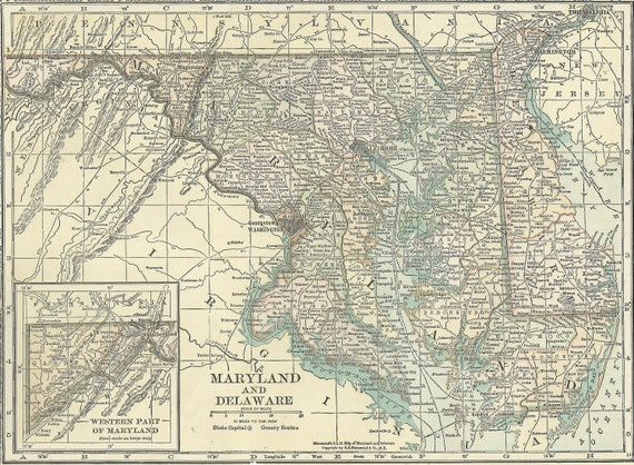 Maryland Map Delaware Map,Baltimore Dover,USA State Maps,United States Map  Art,Place on the World Map,1920 8x11 Printable Digital Download