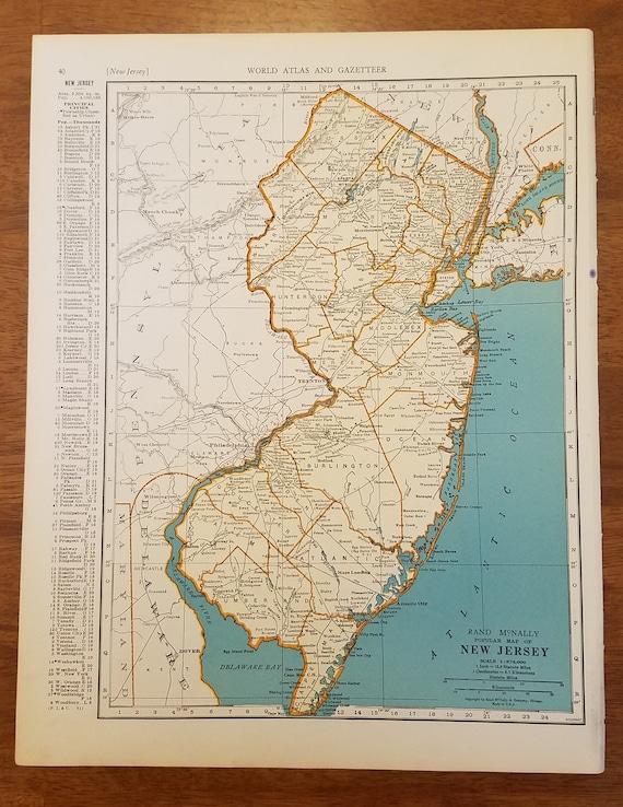 New Jersey On Map Of Usa.New Jersey Maptrenton Atlantic City Mt Holly Newark Etsy