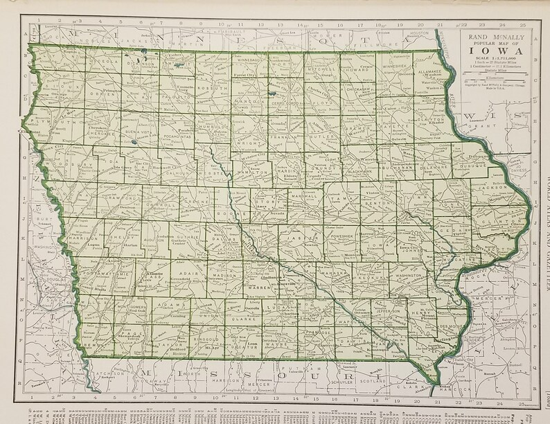 Iowa MapDes Moines Davenport Garner Toledo BurlintonUSA | Etsy on