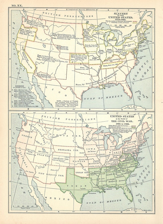 United States Maps,Vintage Map of History US - Territories, Development,  Slavery & Civil War Breakdown,2 Pieces,Printable Digital Download
