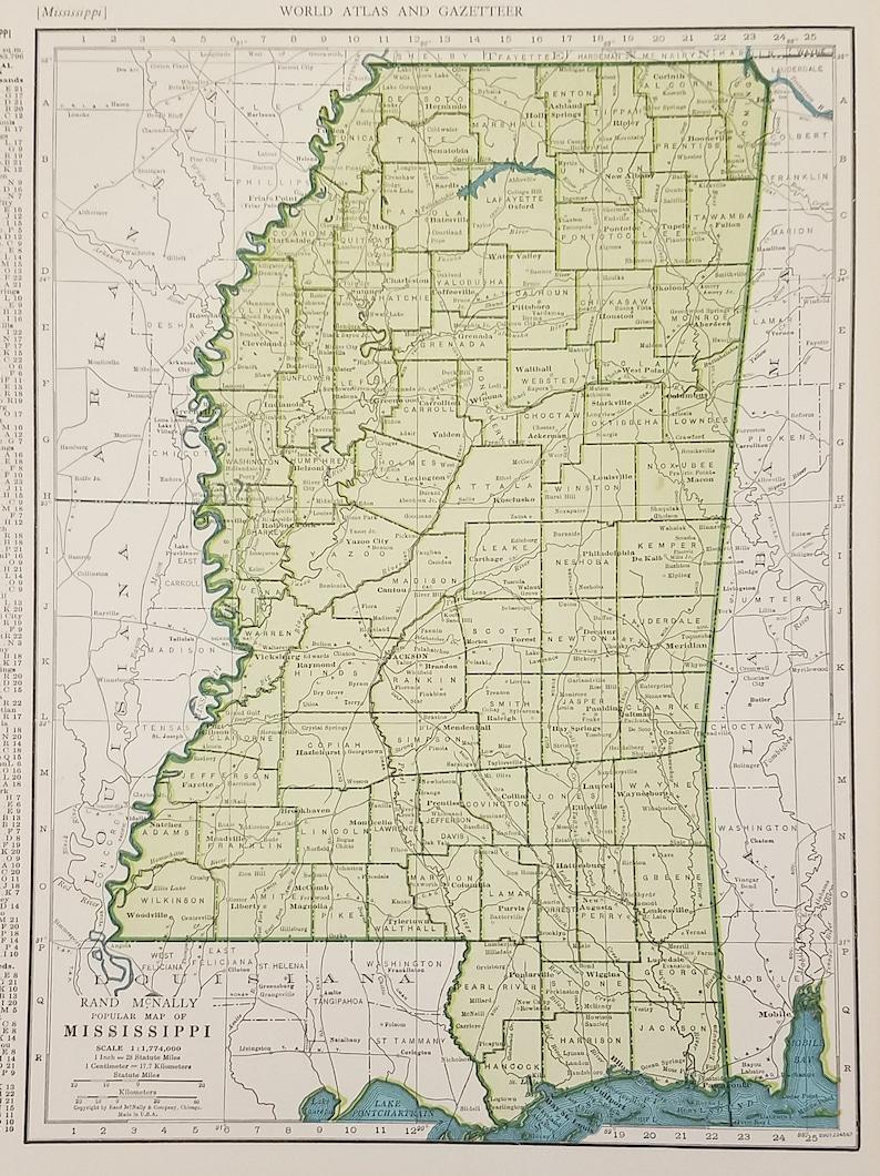 Mississippi MapBiloxi Gulfport Jackson Lafayette DecaturUSA | Etsy