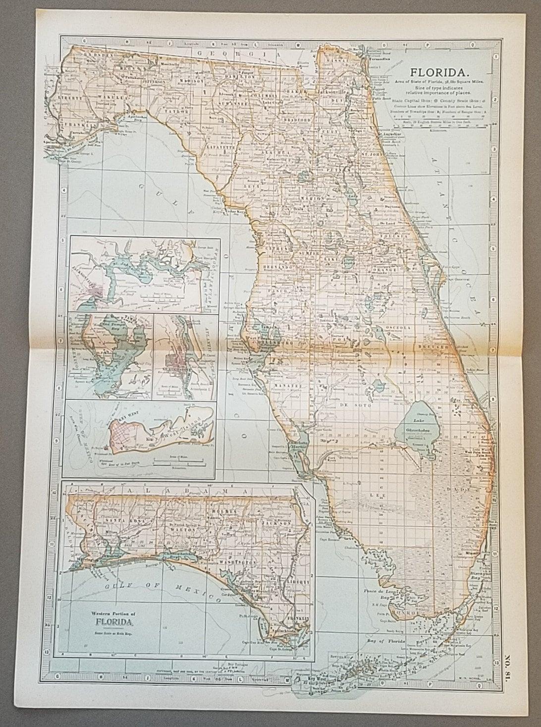 Florida MapFlorida State MapKey West Orlando Miami Dade   Etsy