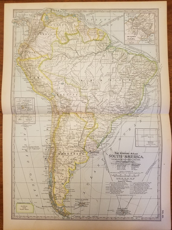 South America Map,North South West East Full Maps,Ecuador Argentina Bolivia  Rio De Janiero,Places on the World Map,4 Maps 1902 10x15