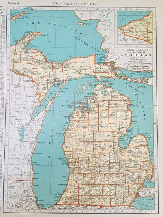 Michigan Map,Detroit Great Lakes Superior Huron Erie Lansing Erie,USA State  Maps,United States Map Art,Place on World Map,1930\'s 1940\'s 9x12