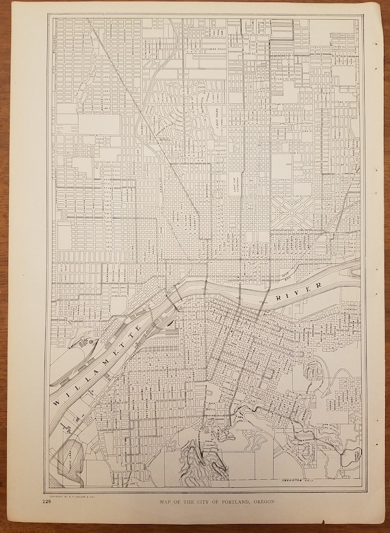 Portland Map,Portland City Map,Portland Oregon Map,USA City Map,United  States City Map,Places on the World Map,1920\'s 9x13