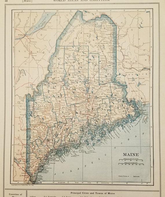 Maine Mapportland Caribou Presque Isle Bristol Augusta Etsy