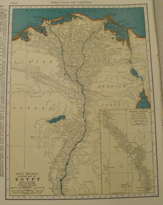 Egypt MapMediterranean Sea Nile River Cairo Red Sea Map in | Etsy