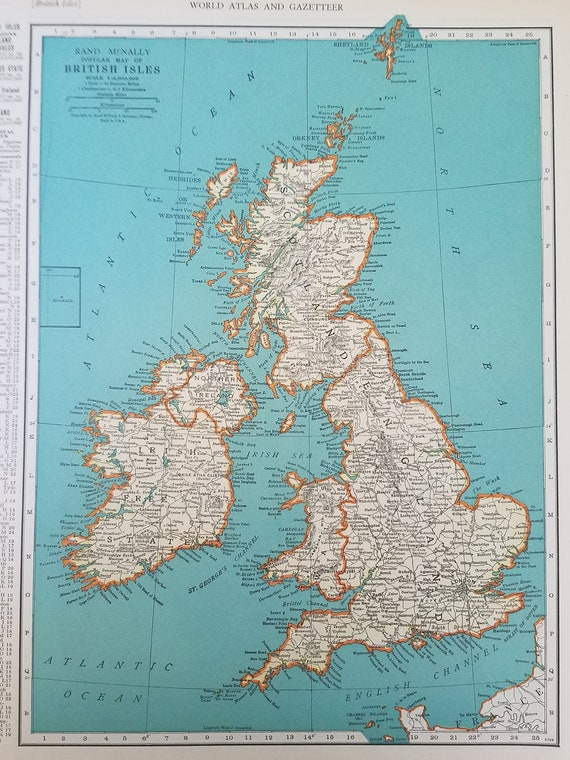 Map Of England And Spain.Europe Map British Isles Map Ireland Scotland England Spain France Germany Italy Poland 2 Sided Place On The World Map 1930 S 1940 S 9x12
