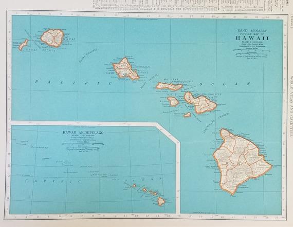 Hawaii Map,Hawaiian Island Map,Panama Canal Map,Kauai Oahu Maui  Lanai,Islands Pacific Map,Place on the World Map,2 Sided 1930\'s 1940\'s 9x12