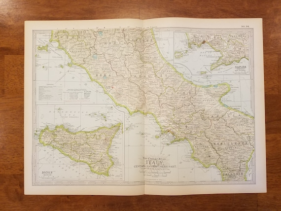 Map Of North Italy.Italy Map Sicily Map Milan Naples Florence Italy North Central South Map Vintage Europe Map Art Place On World Map 2 Maps 1902 10x15
