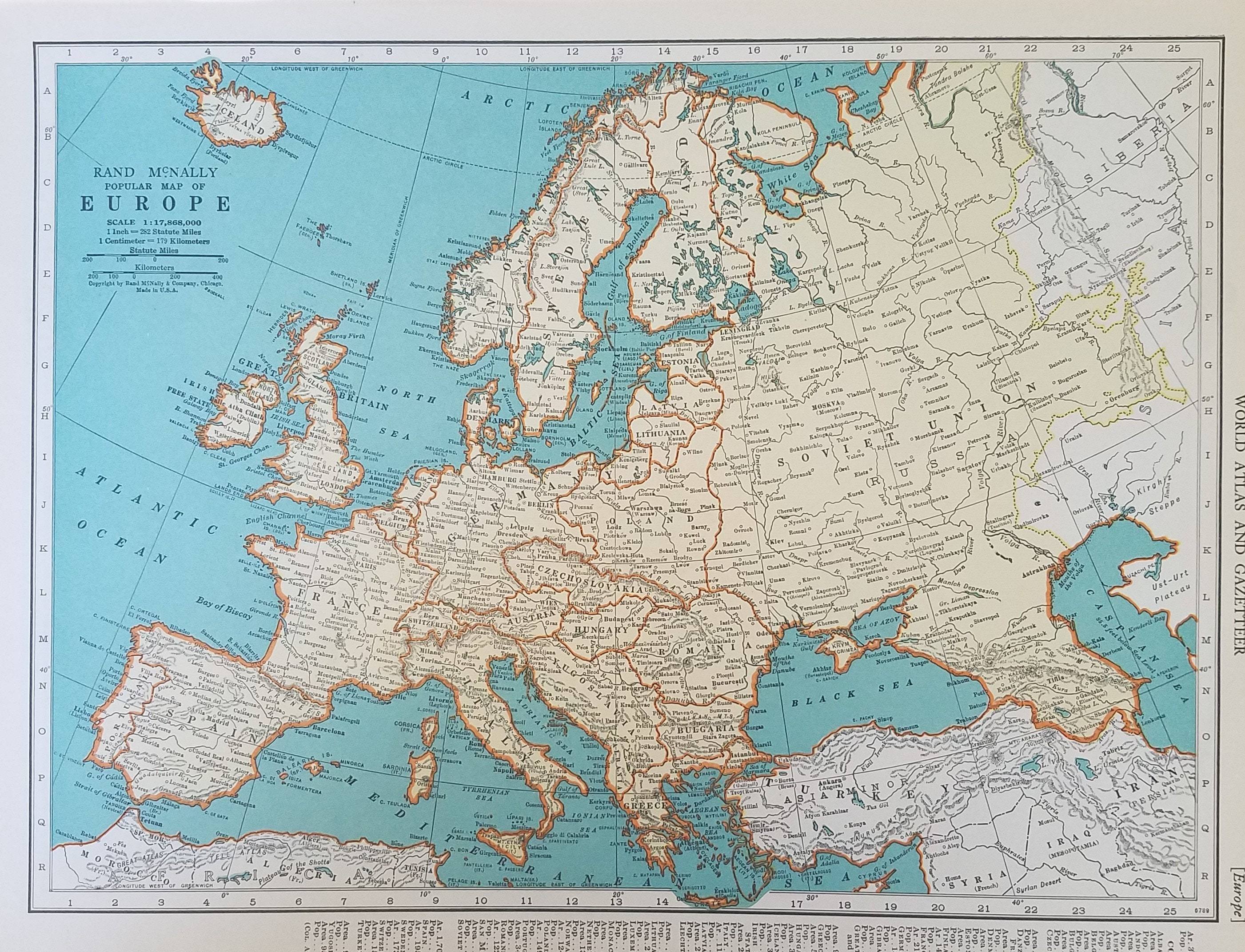 Map Of England France And Italy.Europe Map British Isles Map Ireland Scotland England Spain France Germany Italy Poland 2 Sided Place On The World Map 1930 S 1940 S 9x12