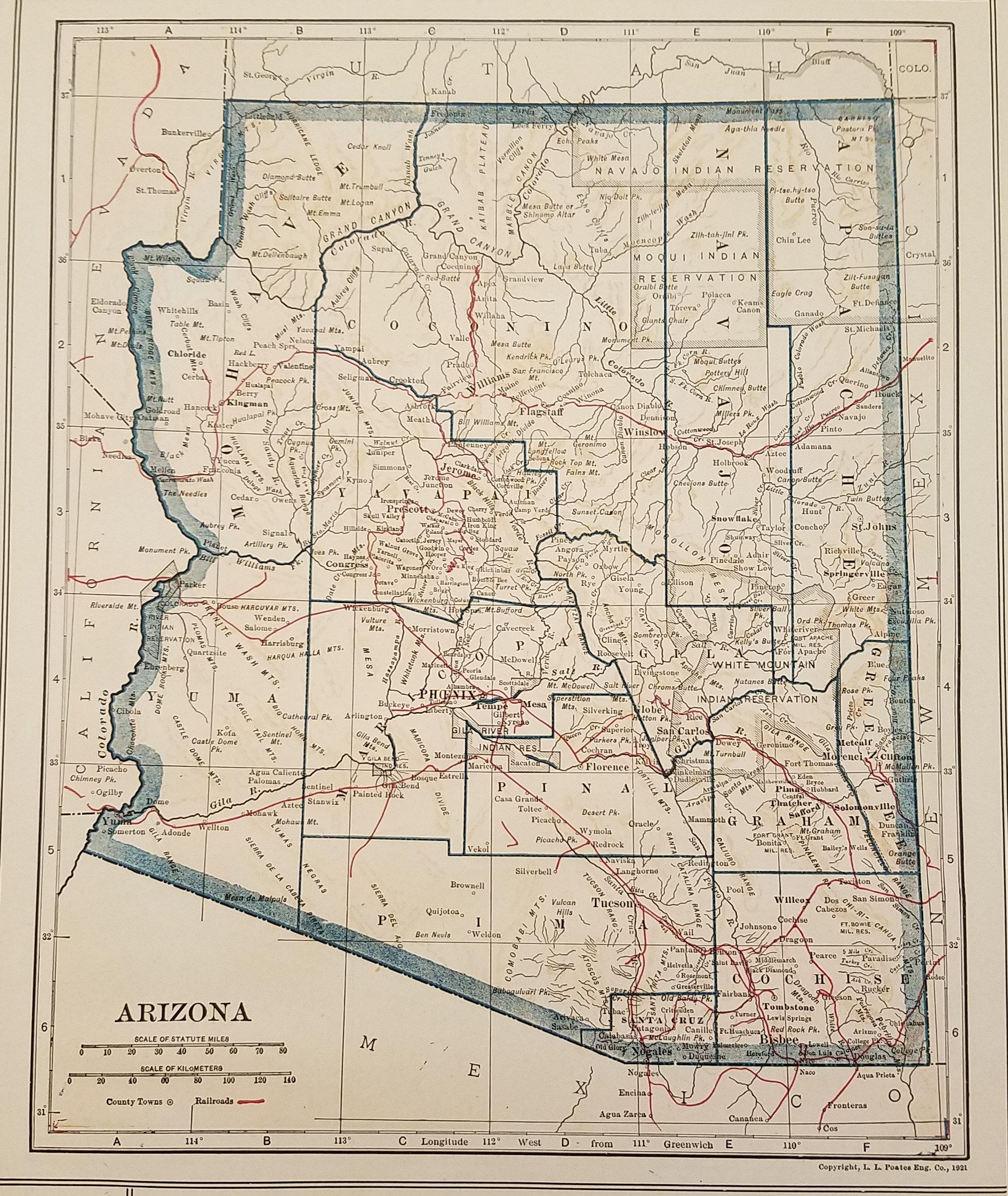 Arizona Map Phoenix Flagstaff Yuma Mesa Grand Canyon Sante Fe Usa State Map Art United States Map Art Place On The World Map 1920 S 8x10