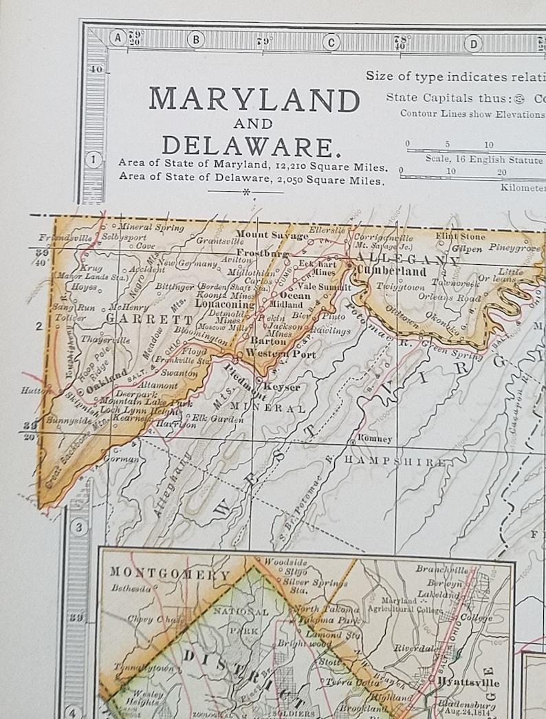 Maryland MapMaryland State MapDelaware MapWashington DC   Etsy