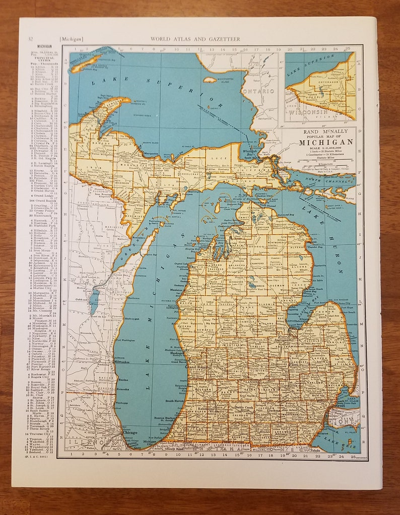 Michigan MapDetroit Flint Great Lakes Kalamazoo LansingUSA | Etsy