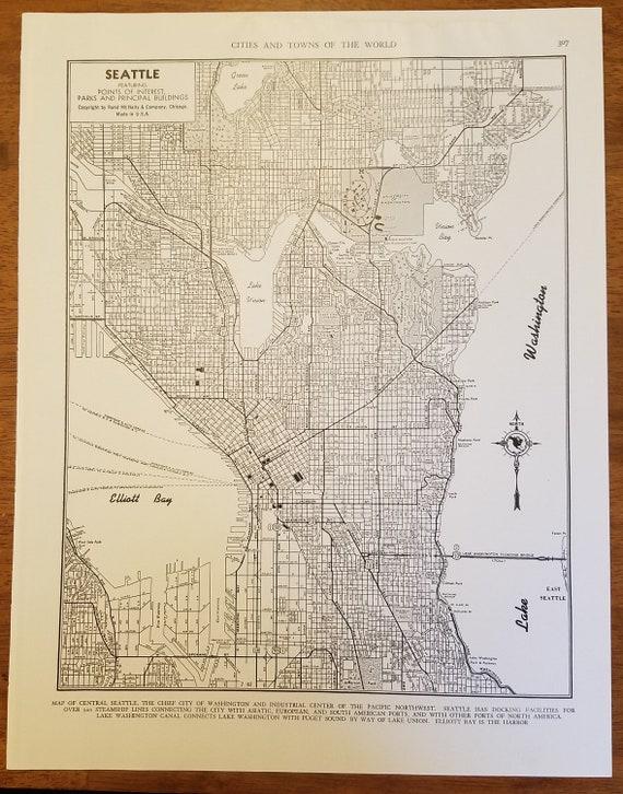 Seattle MapSeattle City MapWashington State Seattle City | Etsy on