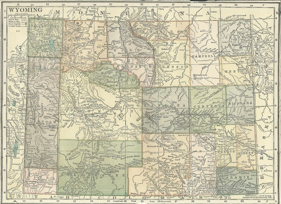 Wyoming Map Yellowstone National Park Usa State Maps United States Map Art Place On The World Map 1920 8x11 Printable Digital Download
