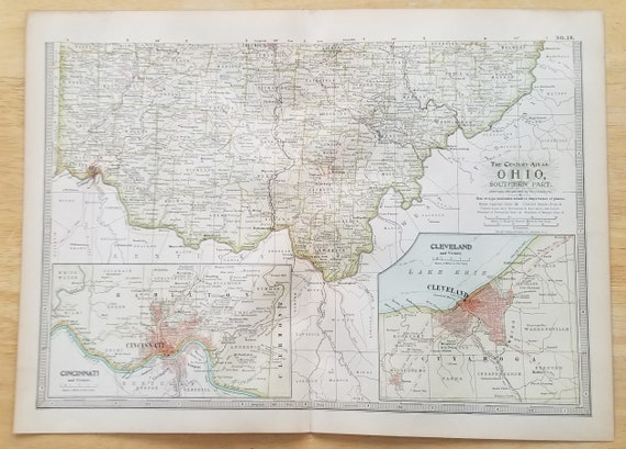 Ohio MapOhio State Map2 Pieces North SouthCleveland | Etsy