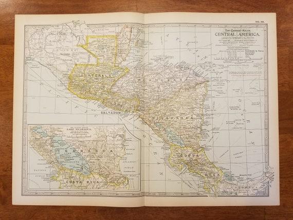 Central America Map,Guatemala Honduras Nicaragua Salvador Panama Mosquito  Gulf Bay Islands Costa Rica,Place on the World Map,1902 10x15