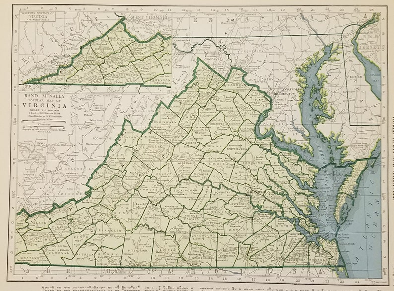 Virginia Map,Norfolk Danville Norfolk Richmond Wise Chesapeake Bay,USA  State Map,United States Map Art,Place on the World Map,1944 9x12