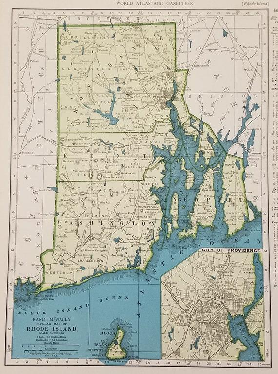 Rhode Island MapProvidence Kent Kingstown Newport Bald | Etsy