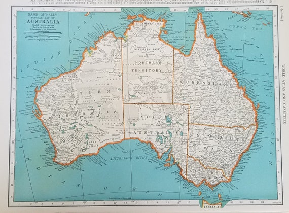 Oceania Map Australia Map Sydney Melbourne Brisbane Perth Auckland Fiji Tasmania Place On The World Map 2 Sided 1930 S 1940 S 9x12