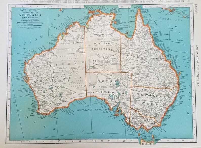 Oceania Mapaustralia Mapsydney Melbourne Brisbane Perth Etsy
