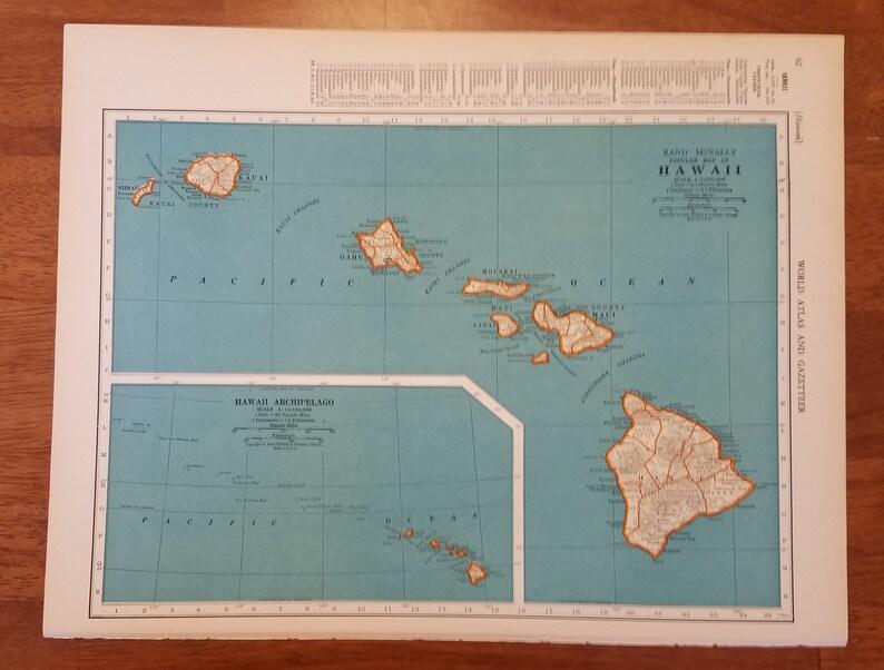 Hawaii Maphawaiian Island Mapkauai Oahu Maui Lanai Etsy