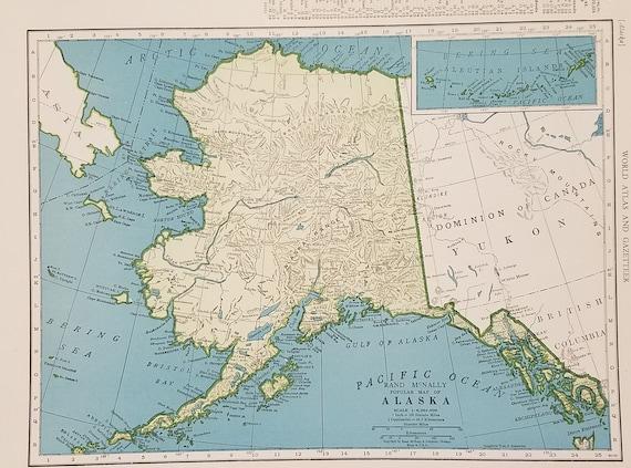 Alaska Map,Anchorage Seward Fairbanks Kenai Wasilla Palmer Butte,USA State  Maps,United States Wall Map Art,Place on the World Map,1944 9x12