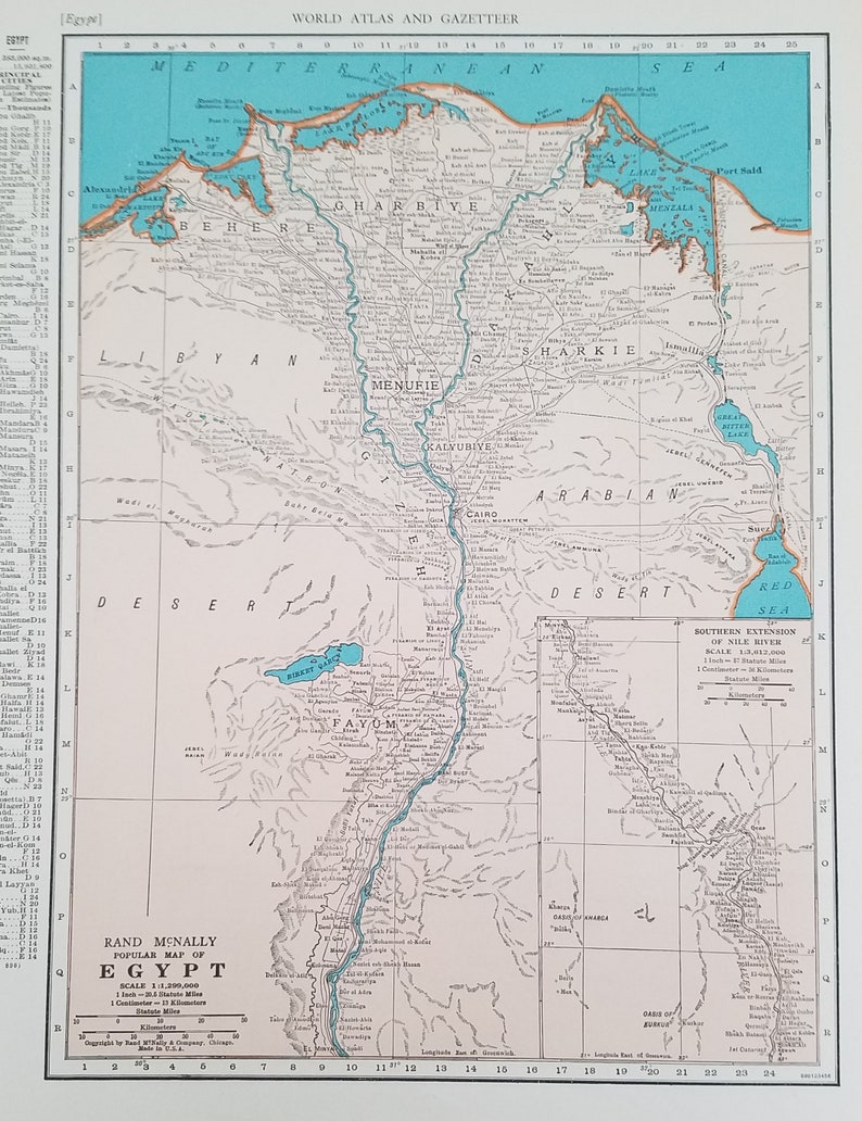 Egypt Mapfeatures Nile River Mediterranean Sea Red Sea Cairo Etsy