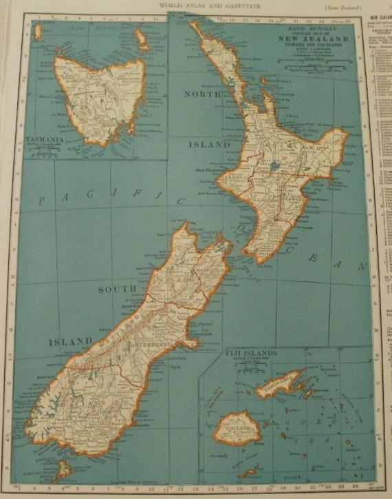 New Zealand Mapsolar System Maptasmania Fiji Islands Earth Etsy