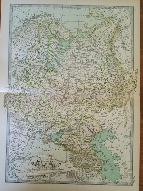 Russia Map,Map in Europe,Russia Finland Poland Map,Russia West South  Map,Atlas Map Wall Art,Places on the World Map,2 Maps 1904 10x15
