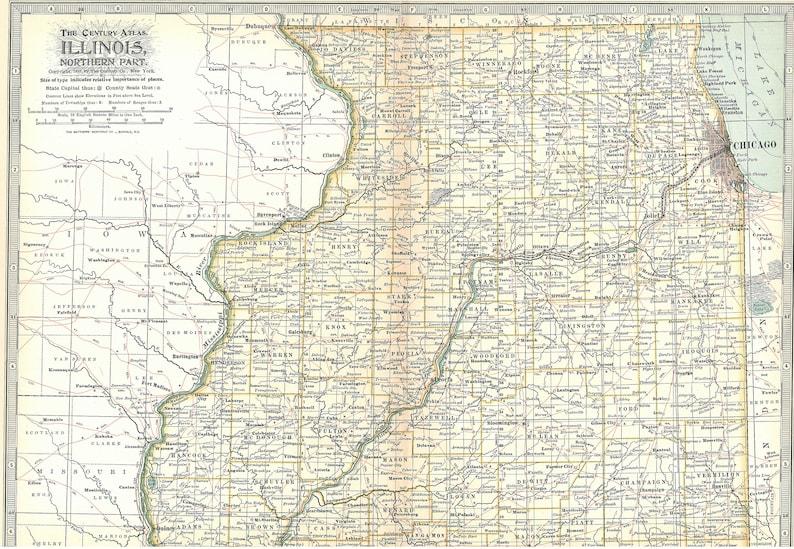 Illinois Map 1897,2 Maps North & South,Chicago Rockford Springfield,United on illinois statehood, illinois travel, illinois maps online, illinois places, illinois usa, illinois colors, illinois water, illinois home, illinois st, illinois people, illinois atlas, illinois state, il state map, rockford il map, illinois animals, illinois history, lincoln park chicago neighborhood map, illinois river towns,