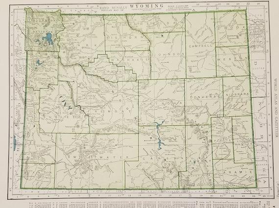 Wyoming MapLaramie Yellowstone Grand Teton Rawlins Cody | Etsy