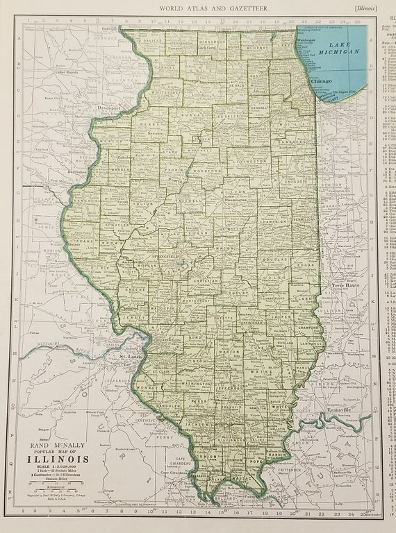 Illinois Map,Chicago Great Lakes Lake Michigan Decatur Rockford,USA State  Maps,United States Map Art,Place on the World Map,1944 9x12