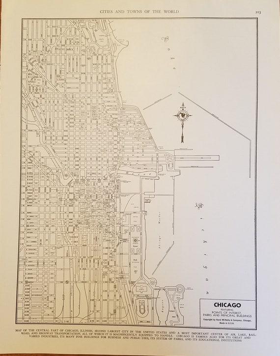Chicago Map,Chicago City Map,Chicago Illinois Map,Lake Michigan,USA City  Map,United States City Map Art,Place on World Map,1944-1947 9x12