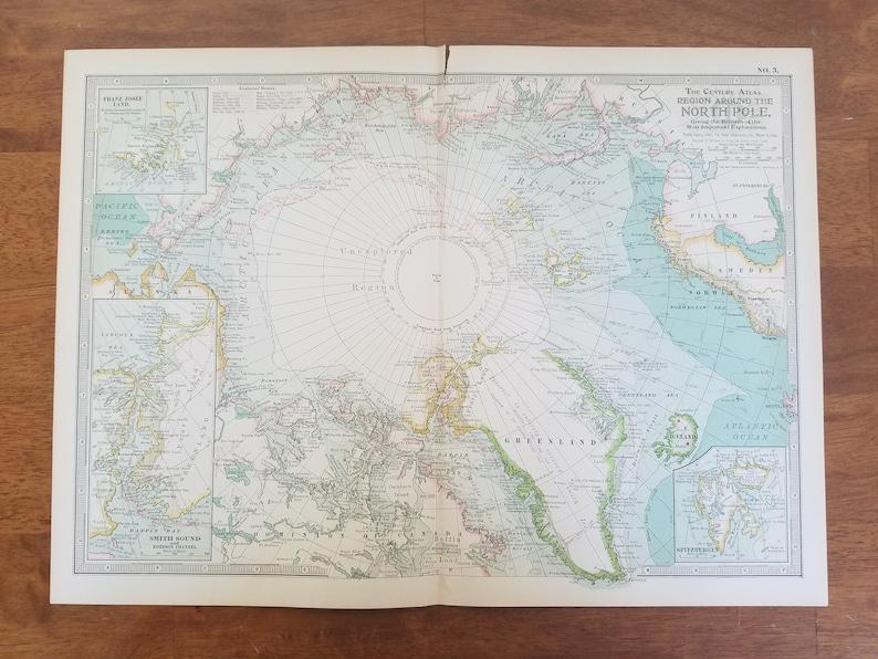 North Pole MapAmerica Canada Europe Russia Greenland Alaska | Etsy