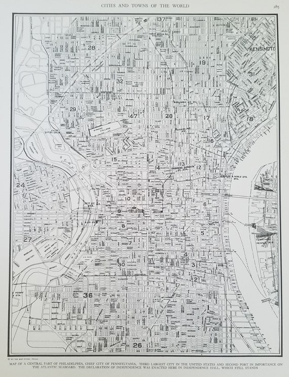 Philadelphia City Map,Philadelphia Pennsylvania Map,Central Part of  City,Schuylkill River,USA City Map,Place on World Map,1930\'s 1940\'s 9x12