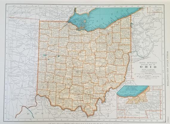 Ohio Mapcleveland Cincinnati Akron Lake Erie Sandusky Etsy