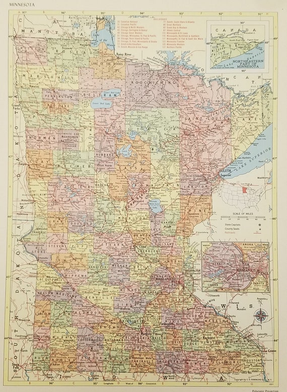 Minnesota Map,Duluth Red Wing Mississippi River Winona Minneapolis St  Paul,Railroad Route Map,USA State Map,Place on the World Map,1955 9x12