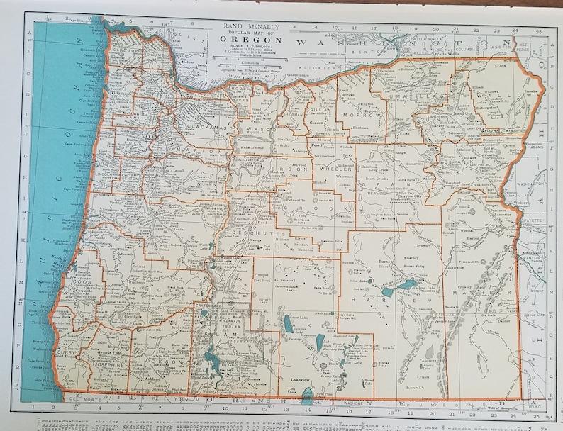 Oregon MapPortland Salem Roseburg Ashland Grants Pass Glide | Etsy
