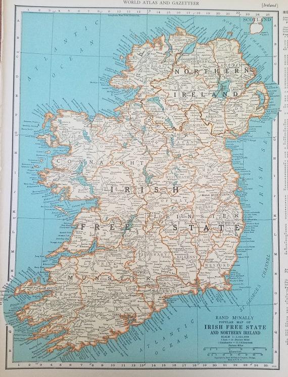 Irish Free State Mapnorthern Irelandcork Ireland Mapdenmark Etsy