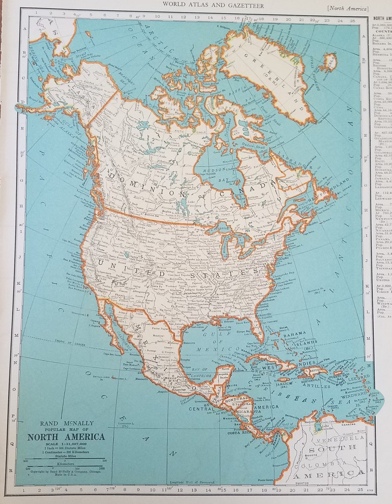 North America Map,USA Canada Mexico United States Guatemala Honduras  Nicaragua Costa Rica Panama,Place on the World Map,1930\'s 1940\'s 9x12