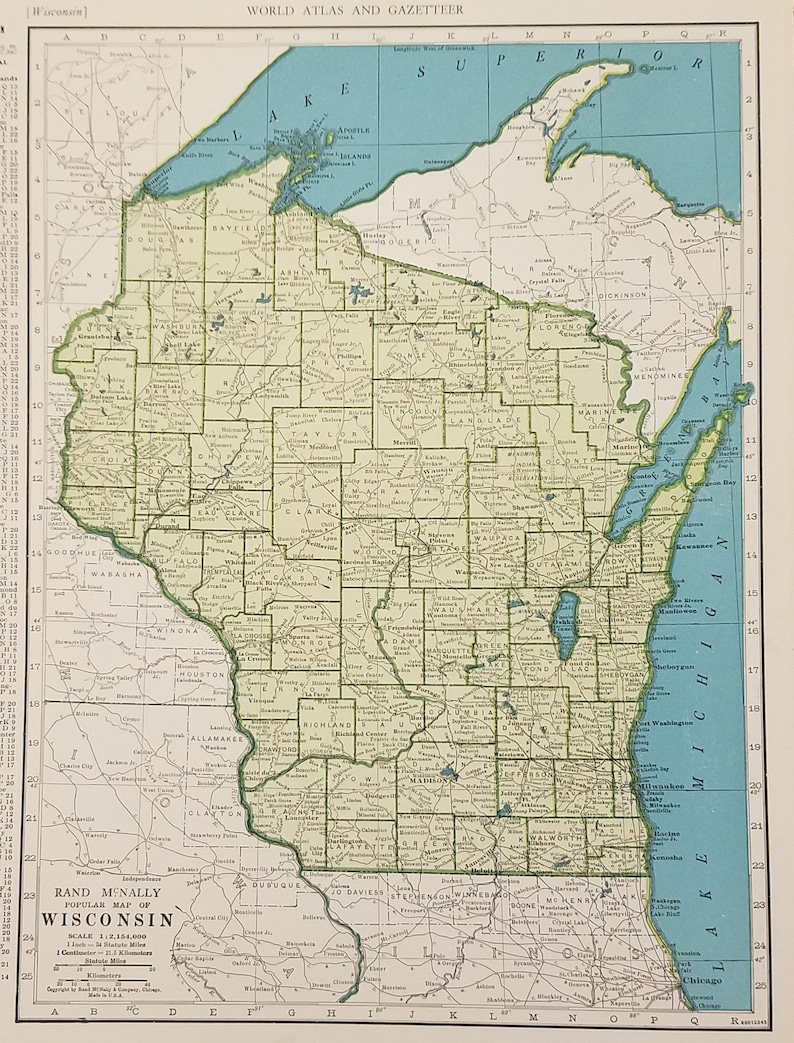 Wisconsin Mapmadison Green Bay Lake Michigan Great Lakes Etsy - Lake-michigan-us-map