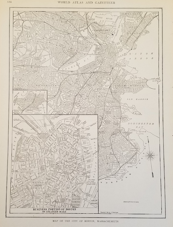 Boston Map,Downtown City Map Boston Massachusetts,Charles River Notre Dame  Harvard MIT Harbor,Place on the World Map,USA City Map,1918 9x12