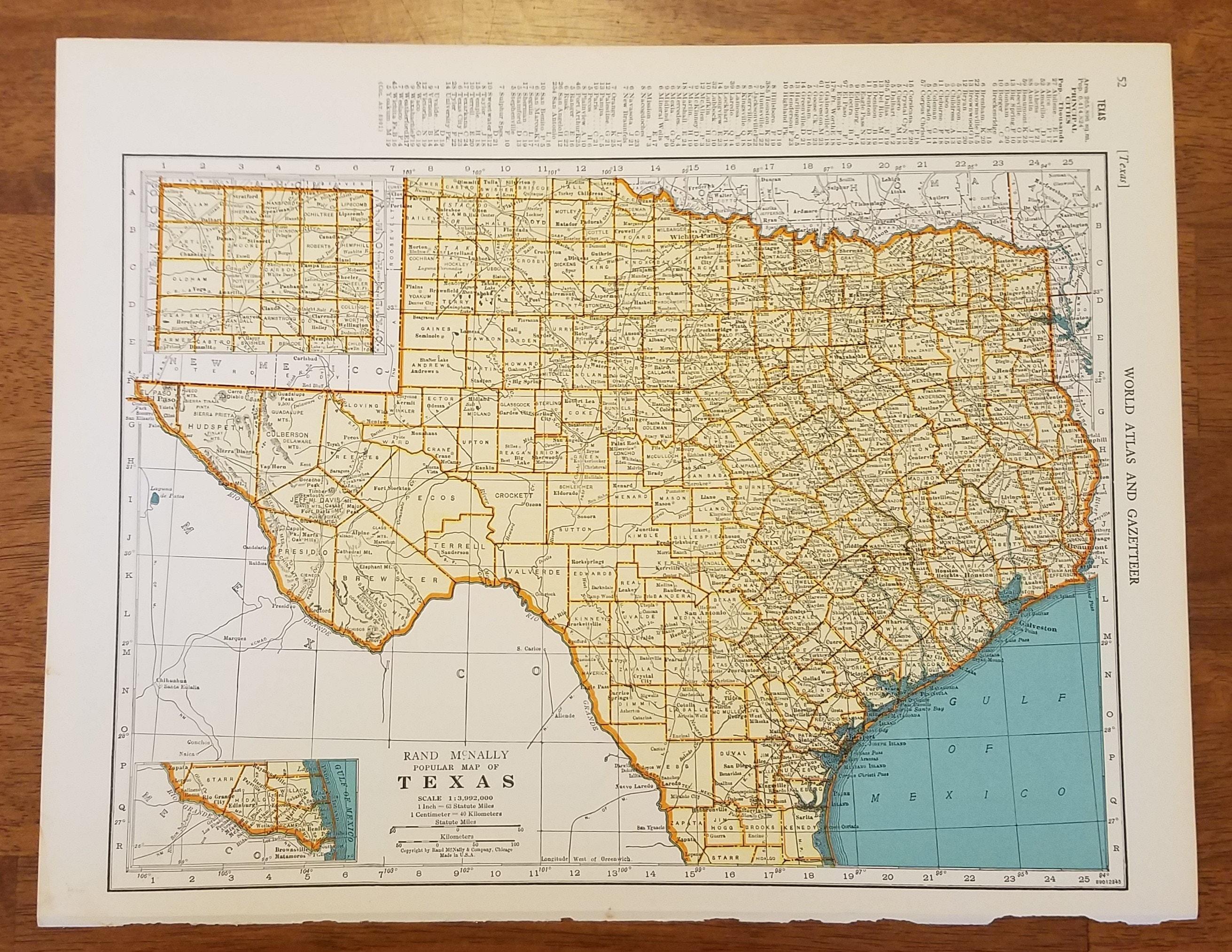 Texas MapDallas Houston San Antonio Galveston HondoUSA State   Etsy