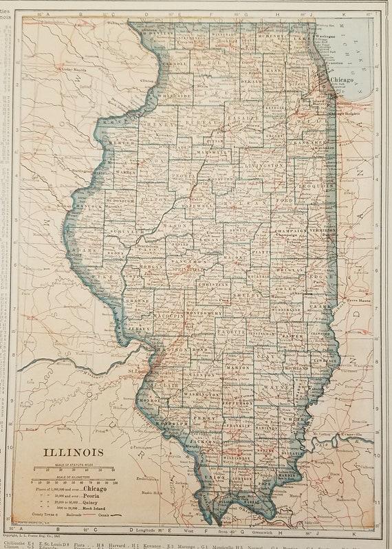 Illinois MapChicago Lake Michigan Champaign Cairo Pana | Etsy